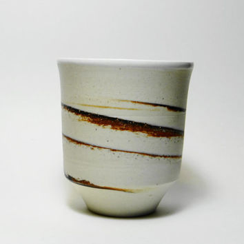Handmade Pottery, Porcelain yunomi, ceramic tumbler, with brown clay, tea cup, tea bowl, chawan, porcelain yunomi, father's day gift