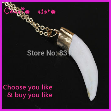 5PCS New Fashion Brave Men Wolf Tooth Necklace Pendant Real 22K Gold Plated Chain Animal Teeth Vintage Necklace Fine Jewelry
