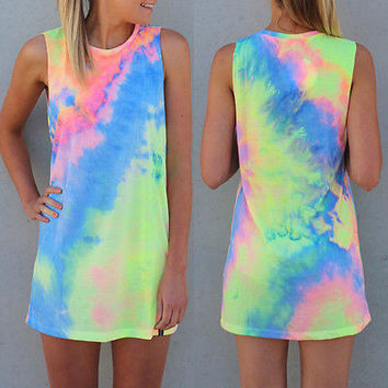 2016 New Summer Sexy Women Sleeveless Party rainbow Dress Mini Dress tie Dye Beach Dress
