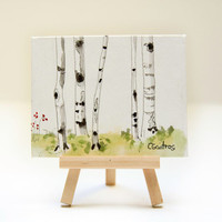 Aspen birch tree forest. Landscape painting. Original affordable mini hand painted art with tabletop easel. Christmas hostess gift under 20