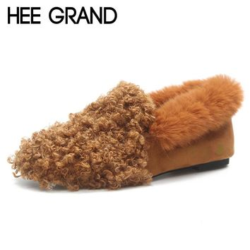 HEE GRAND Faux Fur Winter Flock Loafers Casual Slip On Warm Women Shoes Soft Flats Suede Platform Shoes Woman Size 35-39 XWM244