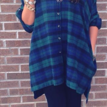 Blue Plaid Loose Long Sleeve Shirt