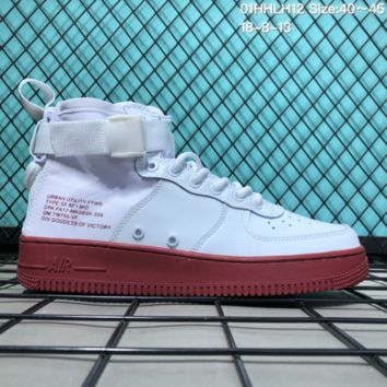 DCCK N219 Nike SF Air Force 1 Mid Leather Canvas Skate Shoes White Wine Red