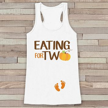 Thanksgiving Pregnancy Announcement Tank Top - Eating for Two Pregnancy Reveal - Pregnancy Shirt - White Tank Top - Thanksgiving Pregnancy