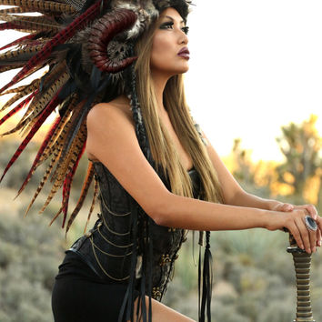 Feather Headdress/ Feather Mohawk/ Warrior Headdress/ Native American Headdress/ Horned Headdress/ Tribal Headdress/ African Headdress