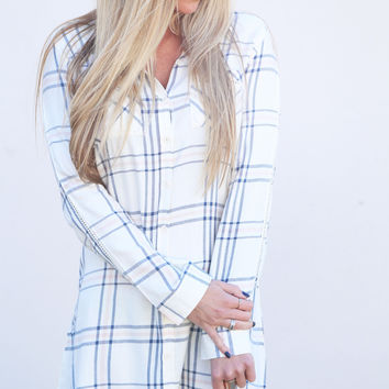 Your Boyfriend's Button Down Dress By BB Dakota {Cream}