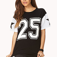 FOREVER 21 Relaxed Sporty Varsity Tee Black/White