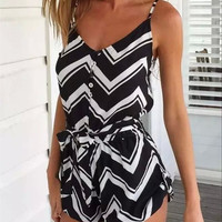 black and white h&m style Jumpsuit short dress  for women  = 4769392068