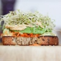 Humdinger Hummus, Carrot, Cucumber, Avocado and Alfafa Sprout Sandwich «