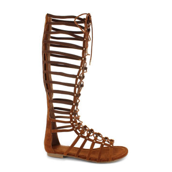 FINAL SALE - Studded Knee High Faux Suede Lace Up Gladiator Sandals - Cognac