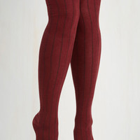 Vintage Inspired Dot and Bold Thigh Highs in Maroon Size OS by ModCloth