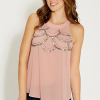 chiffon tank with embellished yoke