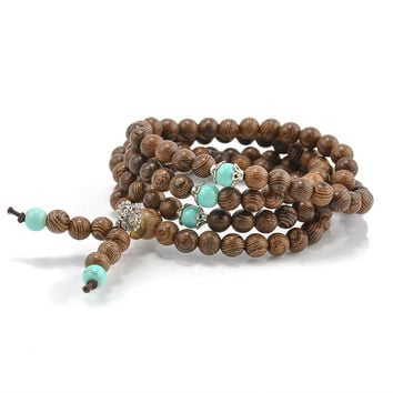 Sandalwood Buddhist Meditation Prayer Bead Mala Necklace Turquoise