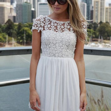 Short Sleeve Floral Crochet with V-Cut Back Pleated Mini Dress