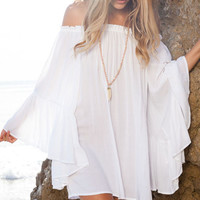 Summer Beach Off  Shoulder Ethereal Chiffon Mini Dress
