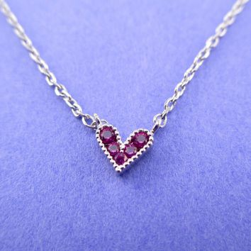 Tiny Little Heart Shaped Dainty Pendant Necklace in Silver with Pink Rhinestones