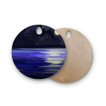 "Cyndi Steen ""Starry Night"" Blue White Digital Round Wooden Cutting Board"