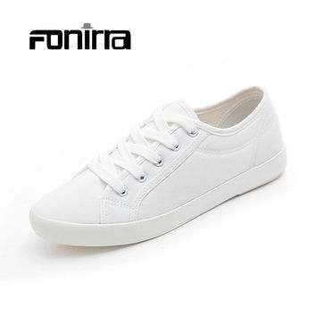 Hot Sale Fashion Women White Canvas Shoes Concise Low Top Casual Flat Student Shoes Lace Up Solid Canvas Walking Women Shoes 172