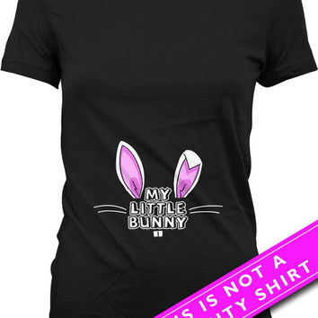 Easter Pregnancy Shirt Pregnancy Reveal Baby Announcement My Little Bunny Shirt Maternity Tops Gifts For Expecting Mothers Ladies Tee MAT498