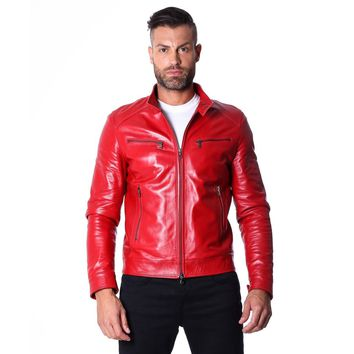 Men's Leather Jacket  genuine soft leather biker style collar mao red color Hamilton
