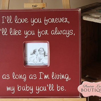 Picture Frame,LOVE YOU FOREVER, 20 x 20, Baptism, First Birthday, Gift Godparents, New Baby, 1st Birthday, Nursery Art PrairieBoutique