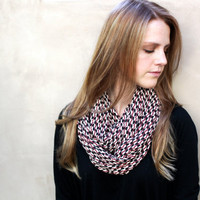 Circle Scarf,  Infinity Scarf, Black, Raspberry, Cream