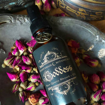 GODDESS Spray ~ Goddess essential oil Mist ~ Rose Quartz Blessed ~ Goddess energy ~ Sacred Witch Magick ~ by Nightshade Botanicals