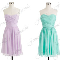 Strapless Sweetheart Short Chiffon Short Prom Dresses, Cocktail Dresses, Wedding Party Dresses, Peach Bridesmaid Dresses