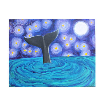 Whale Tail Under Starry Night, 20x16 Art Print, Whale Themed Wall Art, Whimsical Decor
