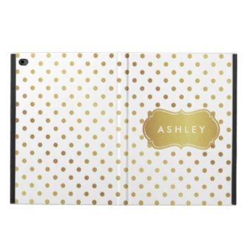 Pretty Cute Gold Glitter Polka Dots Monogram Name Powis iPad Air 2 Case