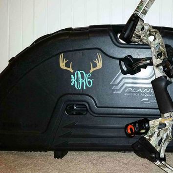 Deer Antler Monogram Sticker ~ Buck ~  Custom Decal ~  Hunting ~ Country ~ Stag
