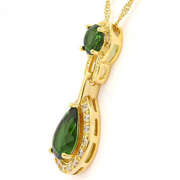 "7.5ct Emerald & White Topaz Necklace 14kt Gold Filled 18"" Chain Birthstone Necklace Handmade Jewelry Gift for Women"
