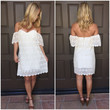 Laced in Love Off Shoulder Dress - Cream