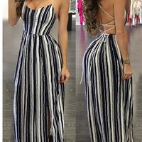 Sexy Stripes Dress One Piece Dress [13536460826]