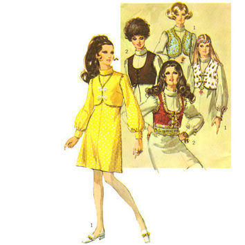 Vintage 1960s Sewing Pattern Roll Collar ALine Dress Bolero by mysweetiepiepie