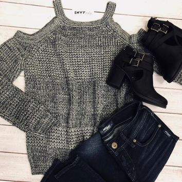 LAST CHANCE Cold Shoulder Heathered Black & White Sweater X