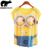 New 2017 summer for Tshirt women style thin plus size loose batwing sleeve women's T-shirt minion and Spongebob print Tops Tees