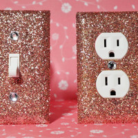 SET Of ROSE Gold Glitter Swichplate Outlet Covers ALL Styles