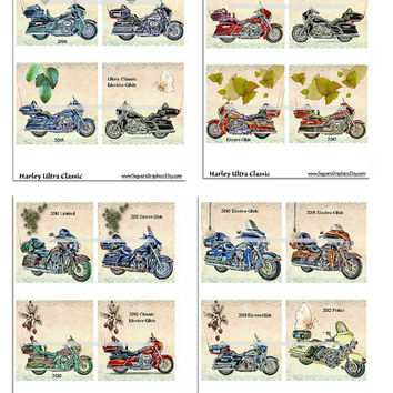 Harley Ultra Classic Motorcycles Altered Art - Coasters Artwork, 4.0 inch Squares, Arts and Craft Projects