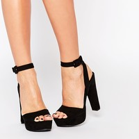 Call It Spring Bosetti Black Platform Heeled Sandals