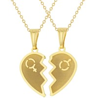 18k Gold Plated Split Heart Necklace for Couples Pendant Love 19""