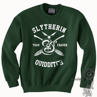 CHASER - Slytherin Quidditch team Chaser WHITE print on Forest green color Crew neck Sweatshirt