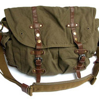Green Canvas Cross Body Messenger Bag for Women
