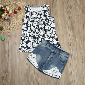 Kids Baby Girls Floral printed T-shirt Tops Demin Shorts children Clothes Set Outfits 2 pieces set Drop ship