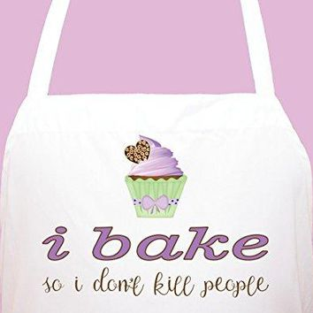 StickerChef Baking So I Dont Kill Personalized Chef's Funny Cooking Apron Kitchen, BBQ Grill, Breathable, Machine Washable