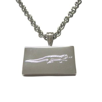 Silver Toned Etched Alligator Pendant Necklace