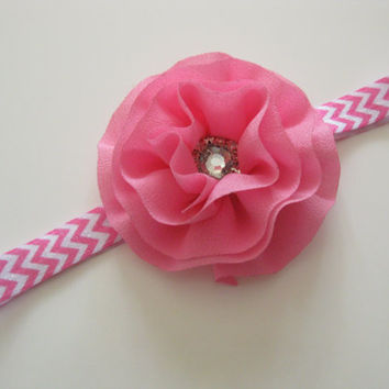 Girls pink rhinestone flower headband -pink chevron headband, toddler headband, photo prop, baby headband, UK seller