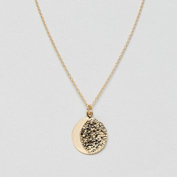 ASOS DESIGN Sterling silver with gold plate necklace in half moon design at asos.com