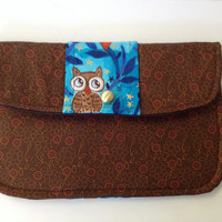 Hand Held Clutch Purse Observant Owl Fall Floral in Blue and Brown