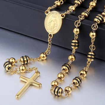 6/8mm Gold Black SilverTone Stainless Steel Bead Chain Jesus Christ Cross Pendant Rosary Necklace Mens Womens Jewelry LKN434